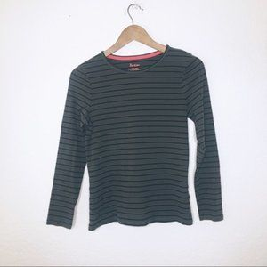 Boden Dark Green S Striped Long Sleeve Basic Top